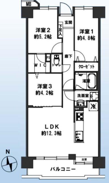 南向き 4階 63.62㎡(間取)